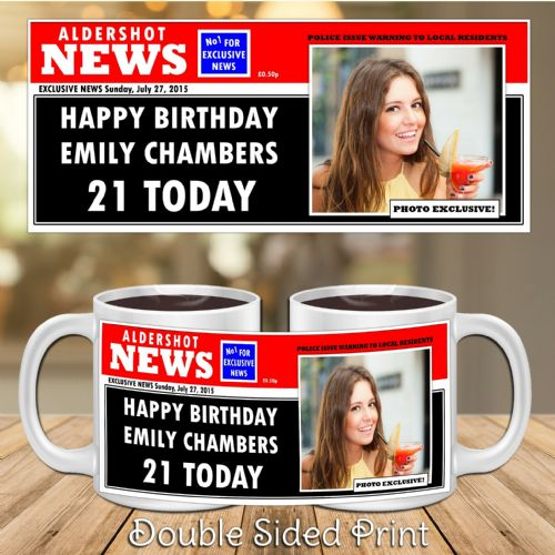 Personalised Happy Birthday Spoof Newspaper PHOTO Mug Gift N25